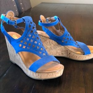 Franco Sarto Electric Blue Suede Wedges (size 9)